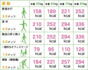 運動カロリー消費表