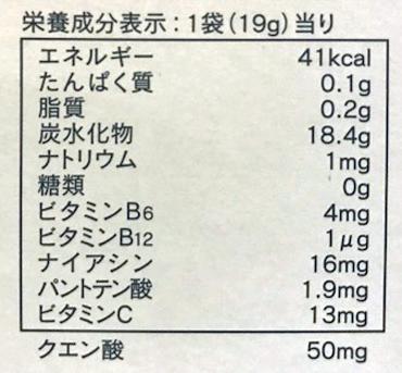 スポーツタブレット栄養表
